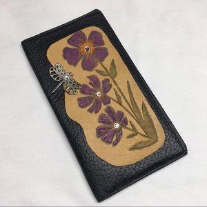 Leather Swarovski Crystal Embellished Wallet